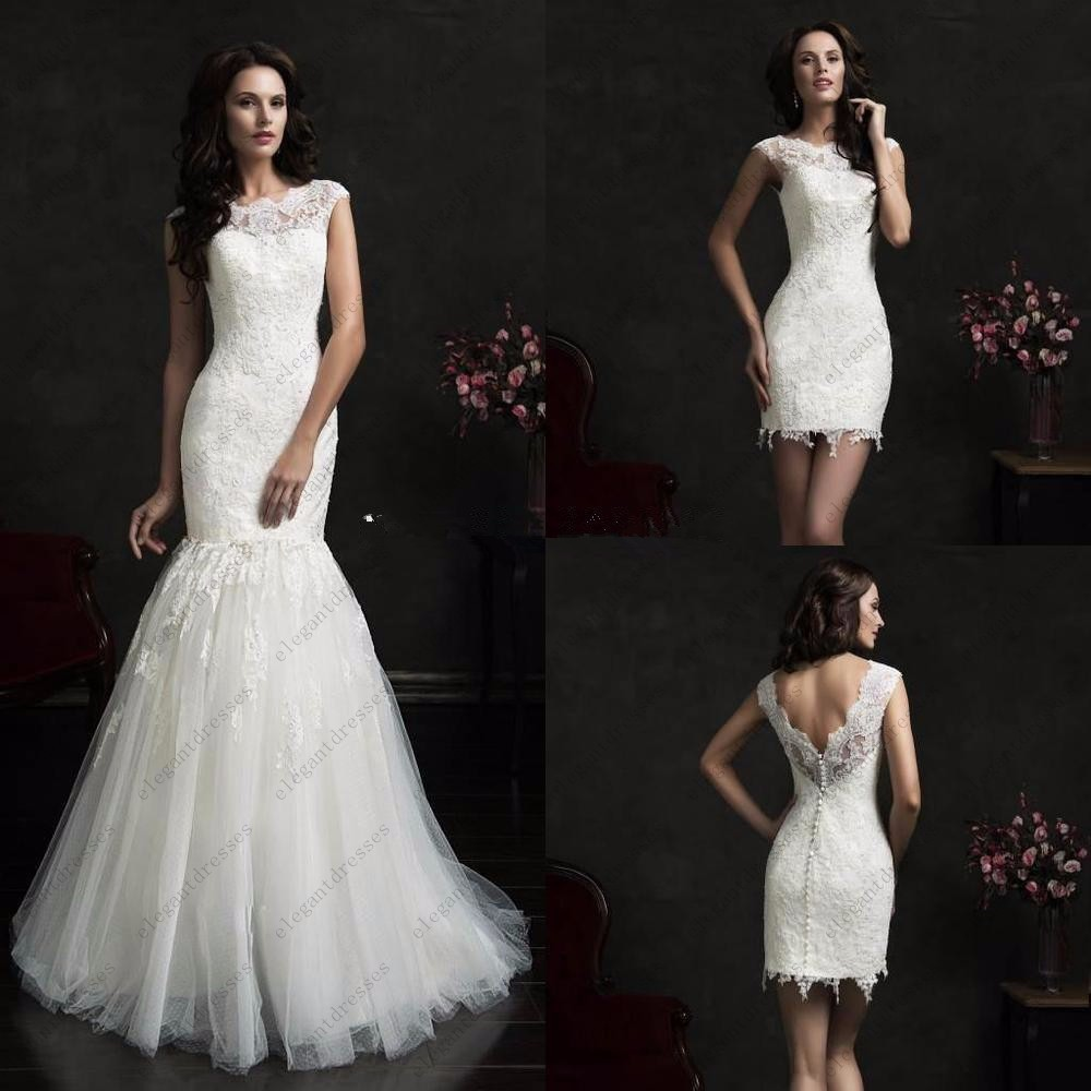 Illusion scalloped neck mermaid bridal gown two piece for 2 piece wedding dresses