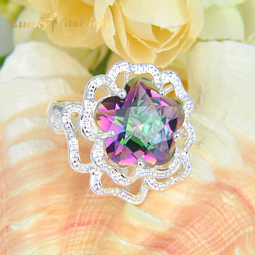 2015 Promotion Fire Stars Mystic Topaz Crystal 925 Sterling Silver Wedding Rings Russia USA Holiday Gift Rings Australia Rings(China (Mainland))