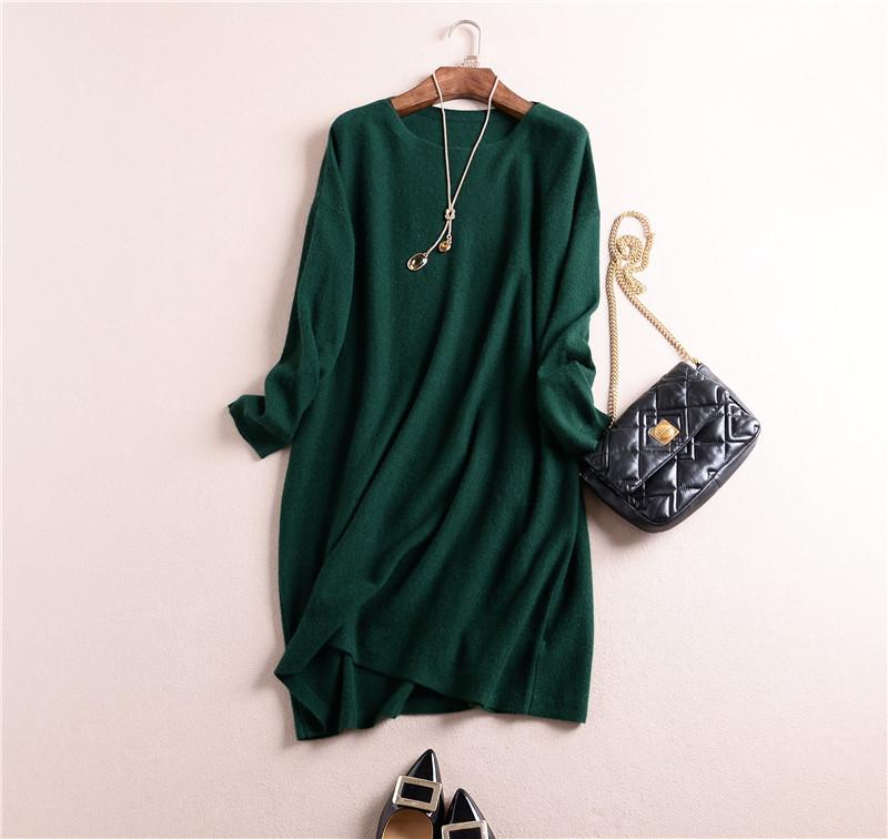 100% Cashmere Plus Size Dresses 2015 Autumn New Women Midi Dress Casual Oversized Robe Hiver Mink Cashmere Tunique Femme 2015