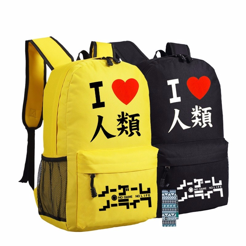Hot Japanese Anime No Game No Life Cosplay Canvas Printing Backpack Mochila Feminina School Bags for Teenagers Laptop Backpack(China (Mainland))