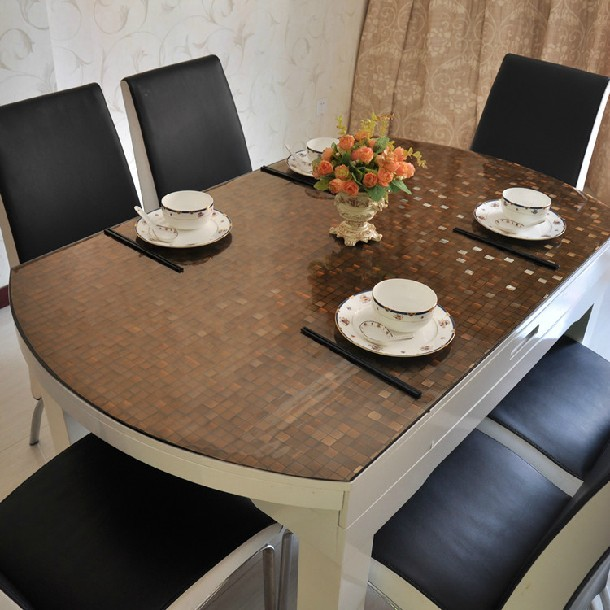 SM 1mm 60*60cm brown check soft glass crystal plate dining waterproof tablecloths customized PVC table mats free shipping()