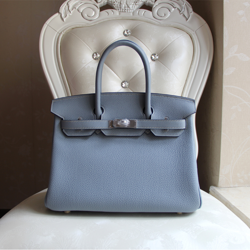 100% Hand Stitching Beautiful full sew-on blue lin togo h female j7 linen blue platinum women bag<br><br>Aliexpress