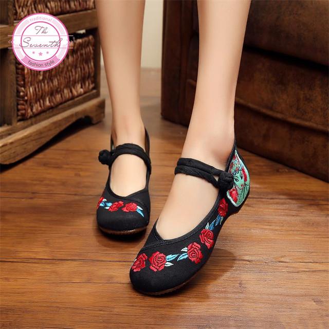 Роза Вышивка Женская Обувь Старые Пекин Ткани Обувь Холст размер 34-40 Квартиры С ...