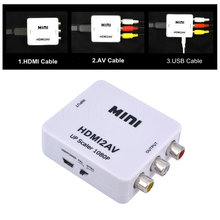 2016 New HDMI Interface Mini HD Video Converter Box HD To AV/CVSB Video HDMI To AV Adapter HDMI2AV Support NTSC and PAL Output(China (Mainland))