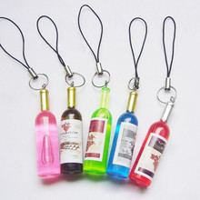 1Pcs Cute Mini Multicolor Red Wine Bottles Pattern Phone Strap Phone Accessory (China (Mainland))