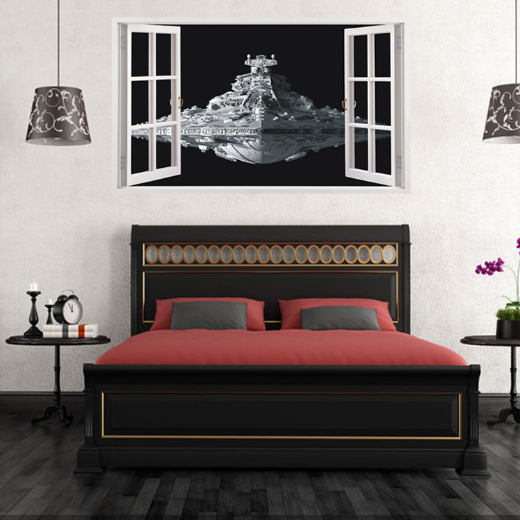 Space ship child room wall stickers for kids room boy for Bedroom 3d wall stickers