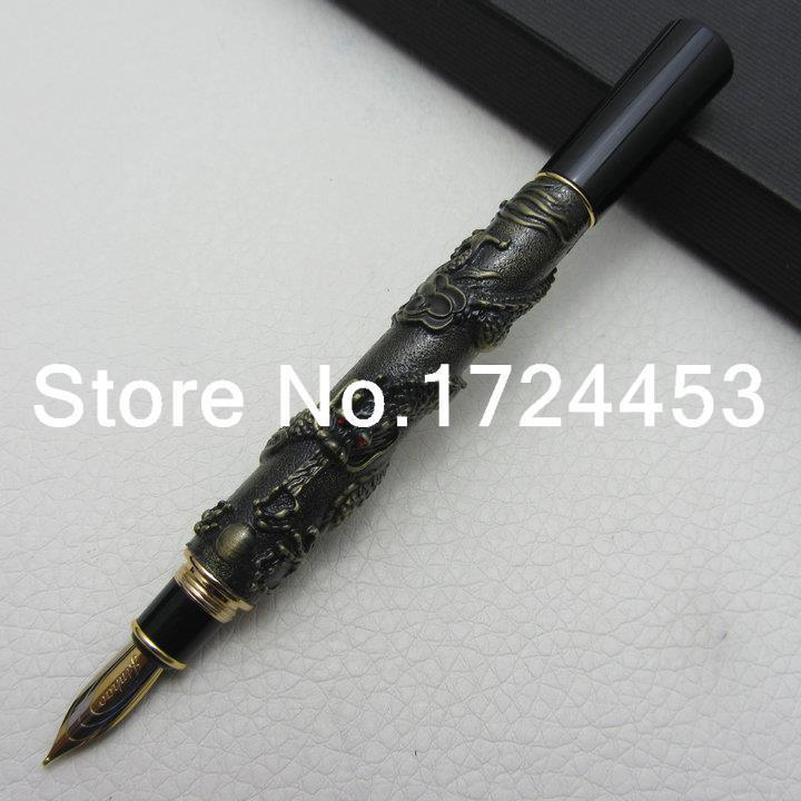 Advanced Fountain Pen Jinhao Chinese Dragon antique bronze Heavy Gift Pen with gift box J1060