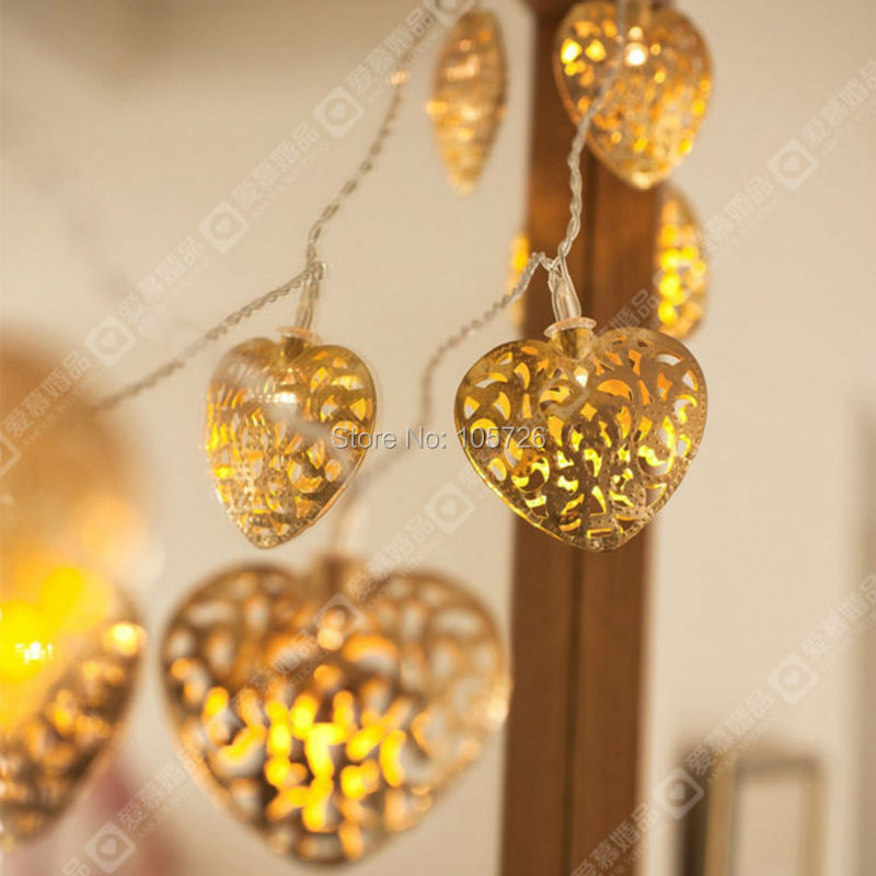 free shipping sliver heart shape led string light/warm white led color for party supplies wedding hotel home decoration(China (Mainland))
