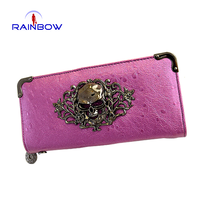 2015 Fashion Women Skull Wallets Zipper Day Clutches Ladies' Long Clutches Vintage Punk Coin Purse Card Holder(China (Mainland))