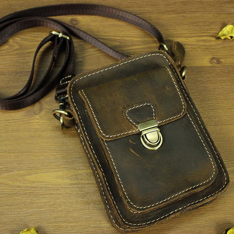 Vintage Fashion 100 Genuine Crazy Horse Leather Cowhide Men Belt Waist Bag Pack Packs Small Shoulder