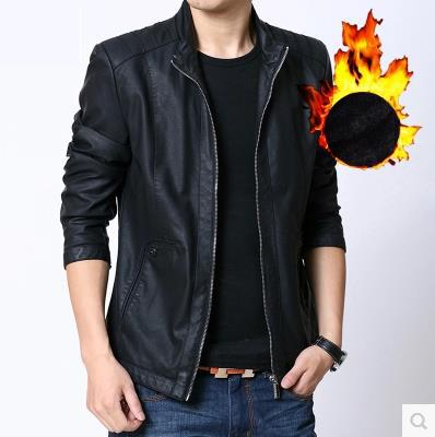 2014 autumn/winter korean cultivate one's morality men with velvet PU leather motorcycle jacket Detonation model Free shipping(China (Mainland))