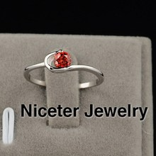 NICETER AAA Top Quality 1pc Free Shipping Ruby/Transaprent Swiss Cubic Zircon Diamond Ring For Women Wedding Accessories 294