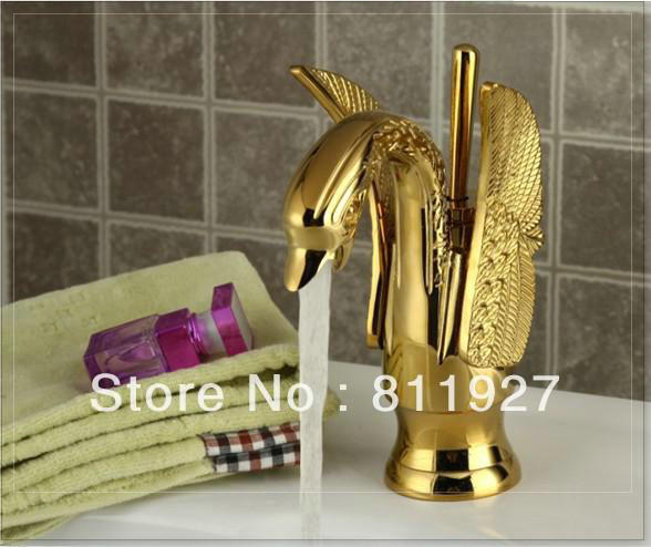 lavatorio high grade luxury animal swan style gold and antique brass faucet black color two for choose basin tap mixer torneira(China (Mainland))