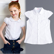 2016 Summer Girls Blouse Kids Baby Girl Clothes Cotton Tops Lace School White Blouses For Girls Short Shirts Children Clothing(China (Mainland))