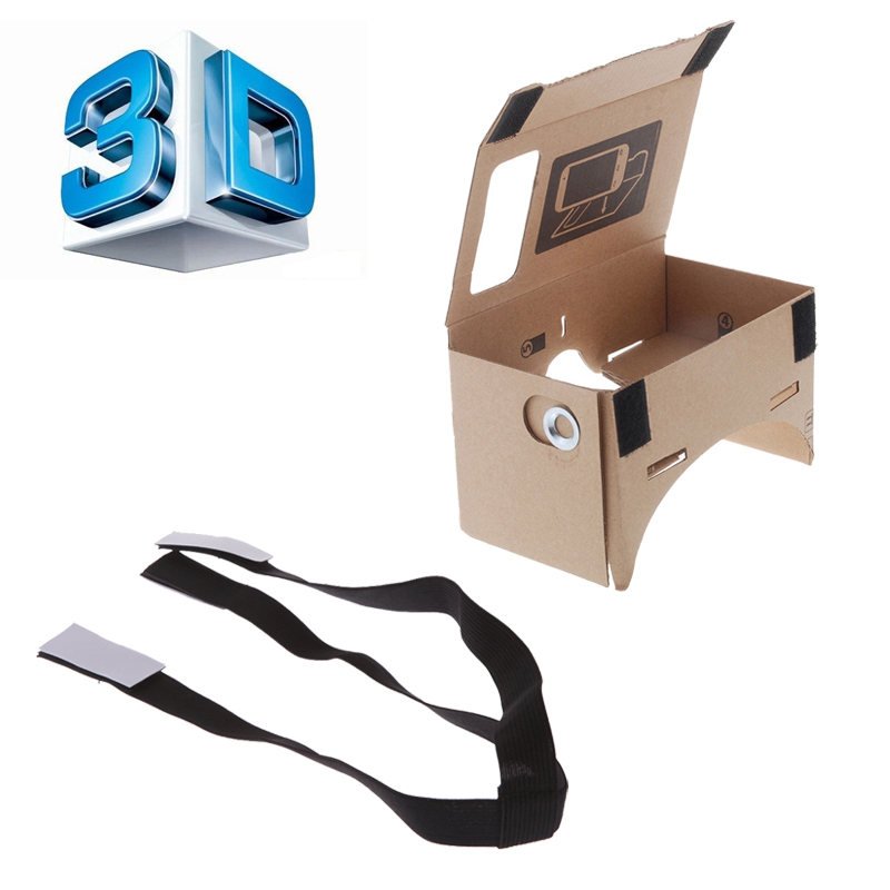 """DIY Google Cardboard VR Box Virtual Reality 3D Glasses VR Mobile Phone 3D Glasses For 5.0"""" Screen+Adjustable Head Mout Strap(China (Mainland))"""