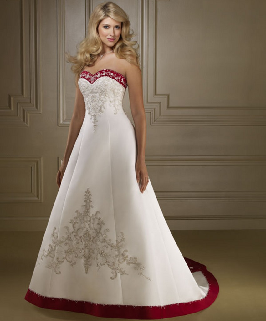 Bride bridal cheap red and white wedding dresses china for White wedding dress with blue accents
