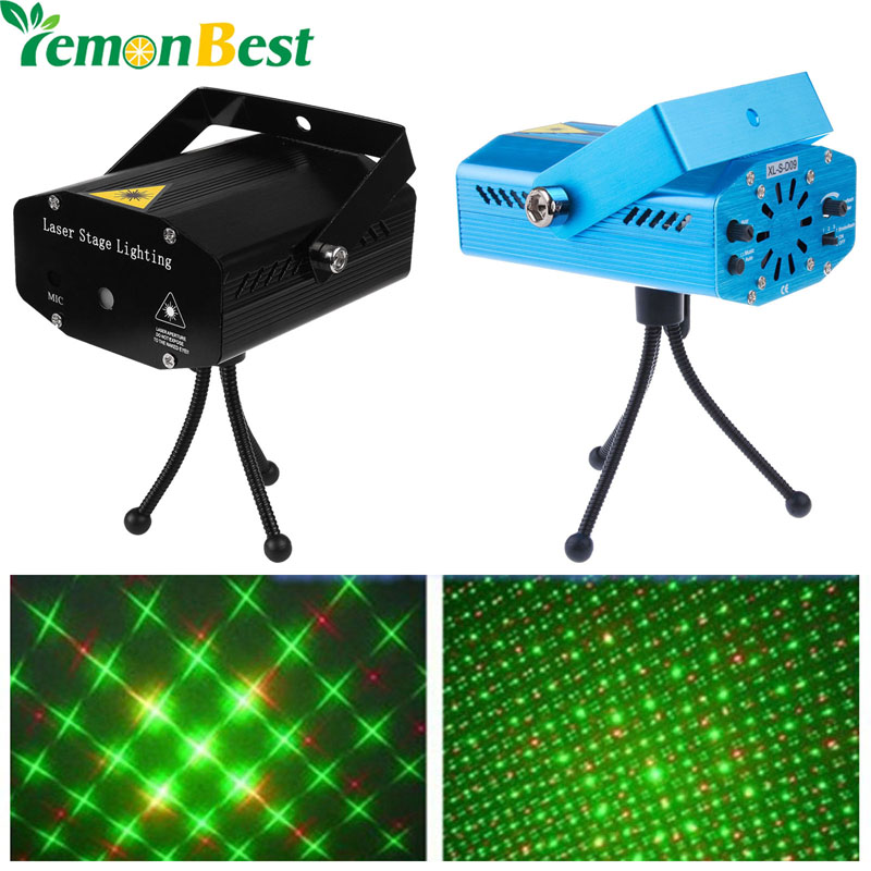 Mini Club Disco Light DJ Projector Stage Laser Light Patry Green Red Music Control Function US /UK /AU /EU LemonBest(China (Mainland))