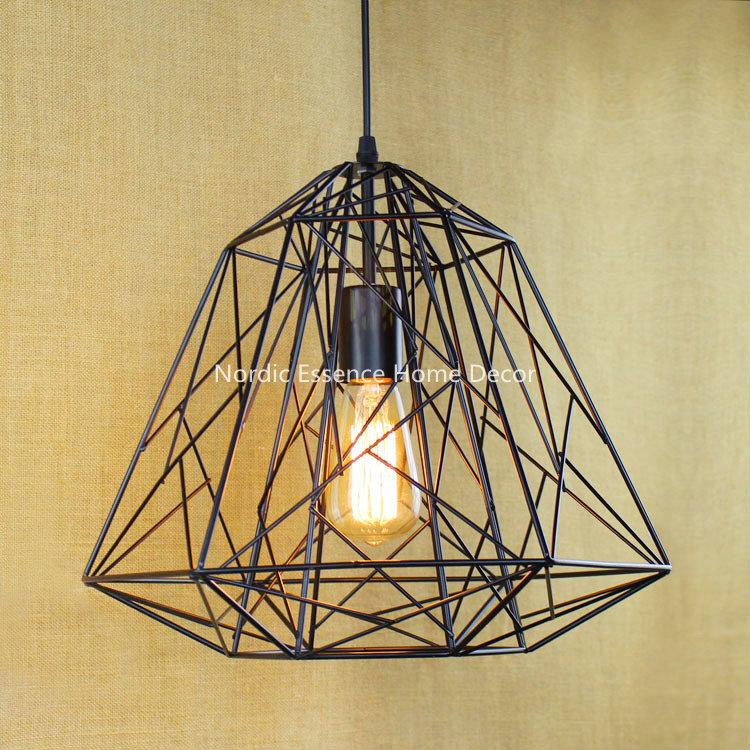 Wrought iron mesh diamond style metal frame hanging wire retro nostalgia LOFT Nordic countryside simple creative chandelier(China (Mainland))