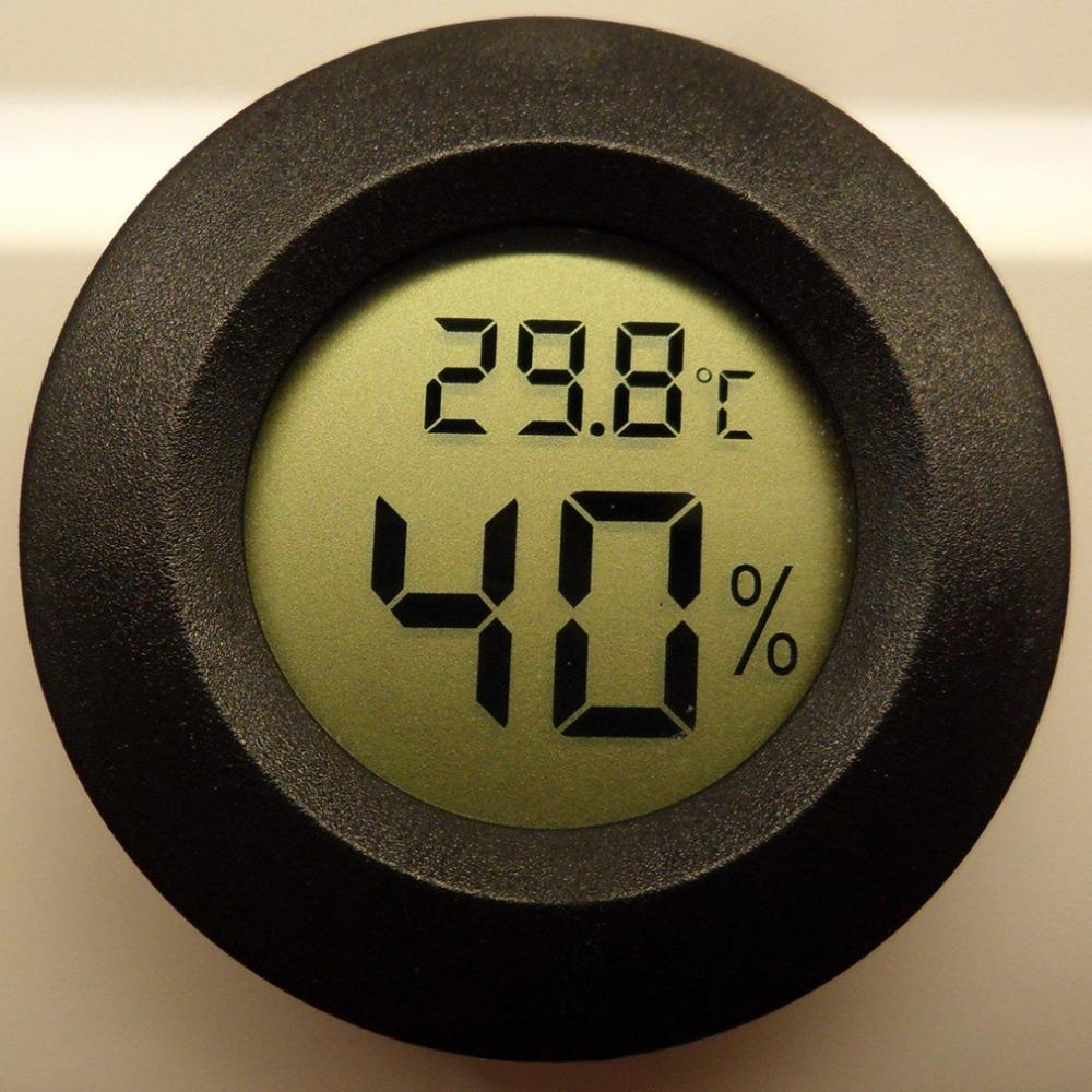 Hot Search Roundish Mini Digital Cigar Humidor Hygrometer Thermometer Round Face New