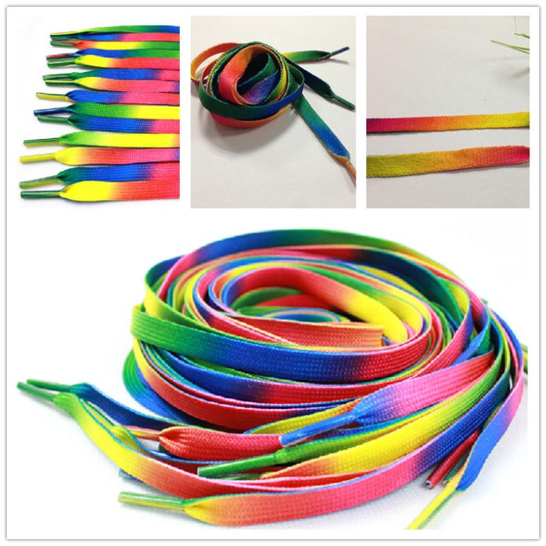 2PCS 110cm 43inch Rainbow Multi-Colors Flat Sports Shoe Laces Shoelaces Strings Strap for Sneakers Unisex(China (Mainland))