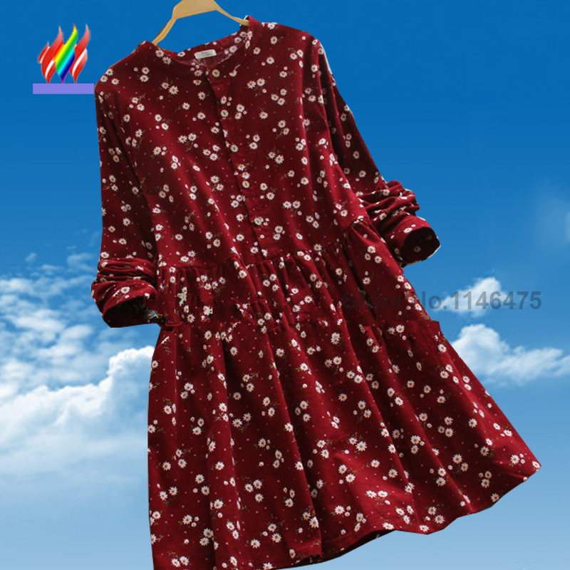 New Arrival Hot Sale Korean Japanese Preppy Style Cute Dresses For Juniors Cute Floral Print Causal Corduroy Red Vintage Dress(China (Mainland))