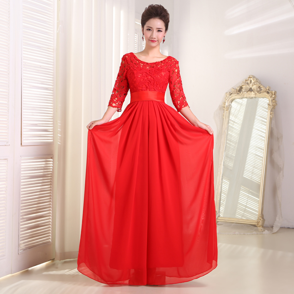 Buy red evening dresses 2015 new arrival for Plus size wedding party dresses