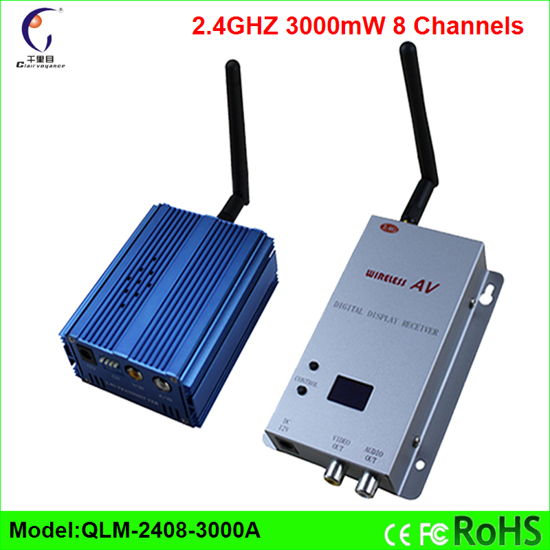 2.4 GHz 8 Channels 3000mW long range wireless video transmitter and receiver AV port connected with cctv camera tv fm sender dvr(China (Mainland))