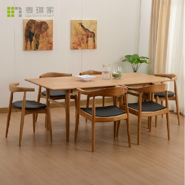 Nordic Dining Table Mediterranean Contracted Solid Wood Table Rectangle D