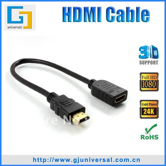 Freeshipping 1.6FT(0.5M) HDMI Cable 1.3V  HDMI cable Male to Female 1080P HDMI Cable for LCD HDTV DVD PS3