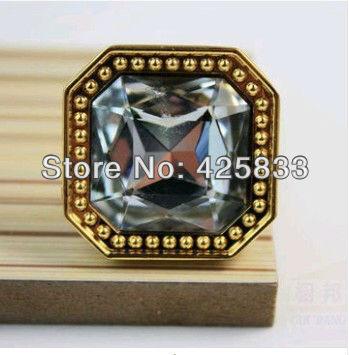 Single Glod K9 Crystal & Zinc Alloy Furniture Golden Finished& Clear Crystal Drawer Knobs &Handle