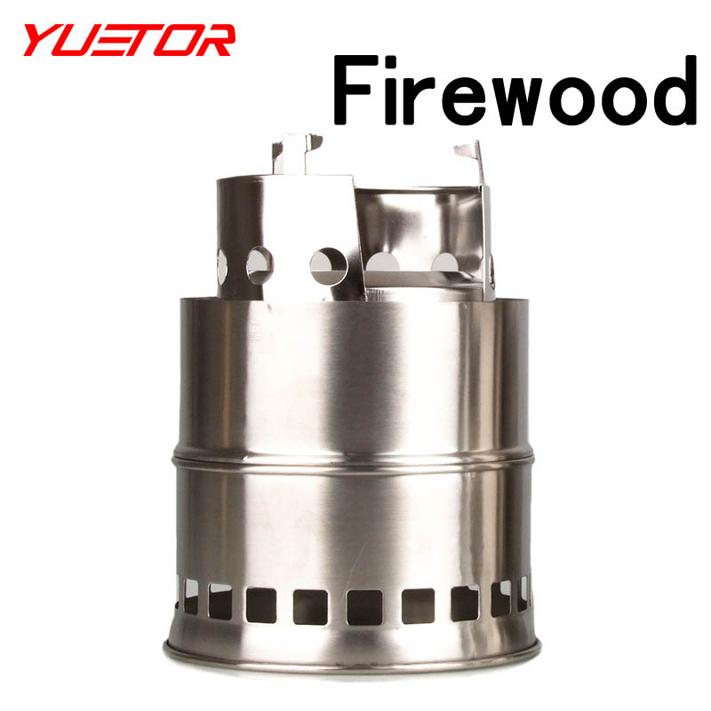 YUETOR folding stainless steel multi fuel firewoods solid alcohol camp stove for outdoor cooking portable wood stove(China (Mainland))