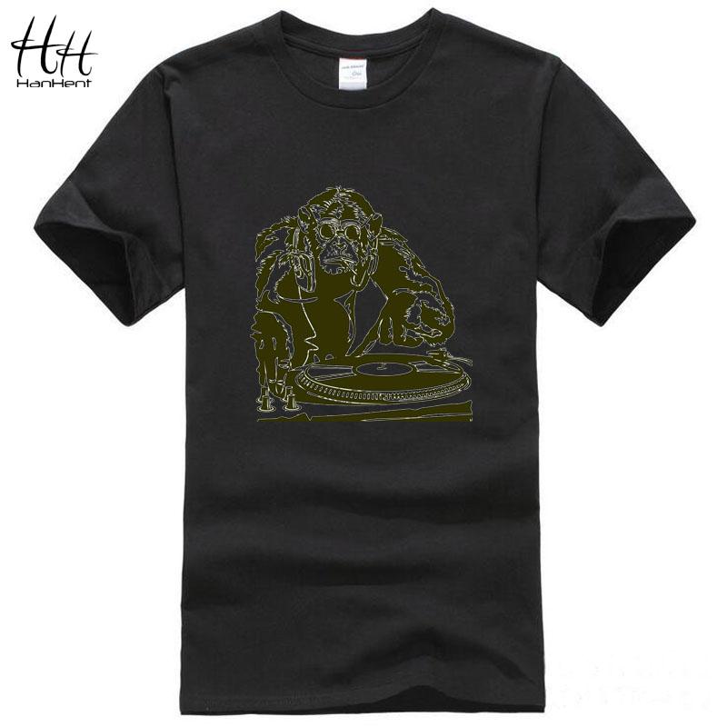 HanHent Fashion Monkey Men t-shirts Cotton Brand-Clothing Hip Hop Funny Black Custom Streetwear Sport Tee Shirt Swag Army TA0534(China (Mainland))