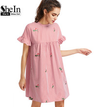 Buy SheIn Bow Tie Back Frill Sleeve Embroidered Striped Babydoll Dress Summer Cute O Neck Short Dress Pink Line Dress for $18.97 in AliExpress store