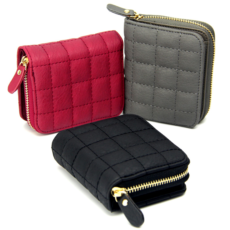 Women Short Wallets PU Leather Female Plaid Purses Nubuck Card Holder Wallet Fashion Woman Small Zipper Wallet With Coin Purse(China (Mainland))