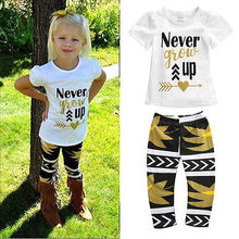 Toddler Kids Baby Girls Outfit Clothes T shirt Tops Long Pants Trousers 2PCS Set Baby Girls