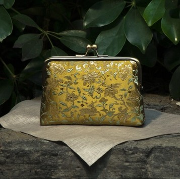 15 Handmade Silk Chinese Yellow Fashion Brocade Money Cards Flower Packet Mouth Gold Metal Frame Women Handbag Finish Product(China (Mainland))