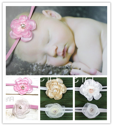 Retail 2014 Newest baby headband Burned silk and organza flower loose pearls rhinestone center girls hair accessories(China (Mainland))