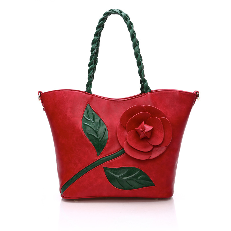 2016 new arrival vintage stereoscopic rose women's shoulder bag flower tote bag high quality spring new design()