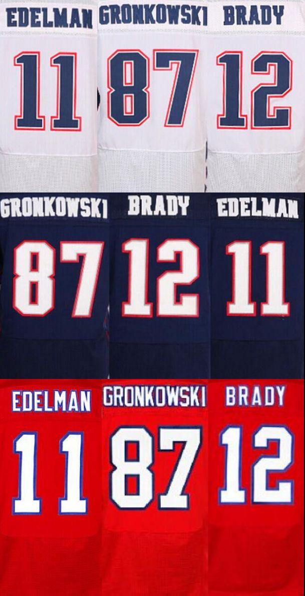 Kualitas terbaik pria jersey, Elite 12 Tom Brady 87 Rob Gronkowski 11 Julian Edelman jersey, Putih Merah dan Biru, ukuran M-XXXL(China (Mainland))