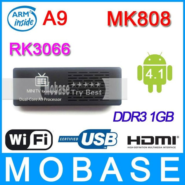 MK808 Android TV Box,Google Android 4.1 Online TV Internet Mini PC,RK3066 1.6GHz Dual Core 1GB RAM WiFi 1080P HDMI,Free Shipping