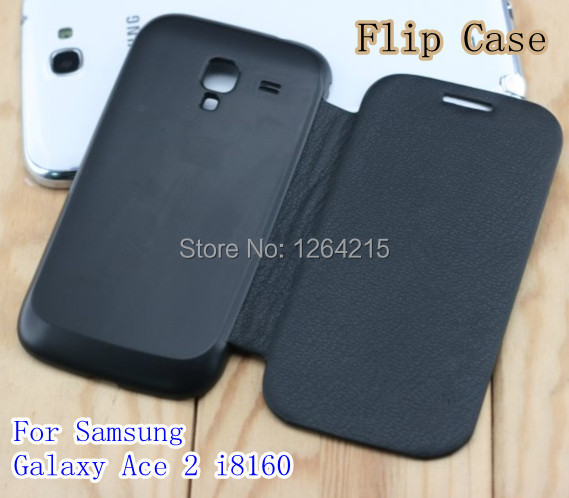 For Samsung Galaxy Ace 2 i8160 battery housing case Flip cover leather remove back cover case(China (Mainland))
