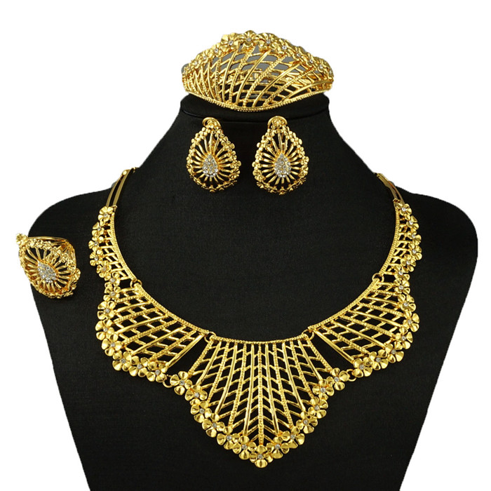african jewelry sets fashion wedding jewelry set real gold plated sets fine jewelry sets women necklace(China (Mainland))