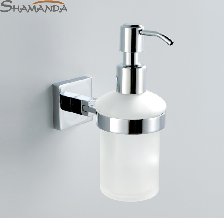 Free Shipping Wall Soap Dispenser Brass Base With Chrome Finish+Frosted Glass Container Bathroom Accessories-99013(China (Mainland))