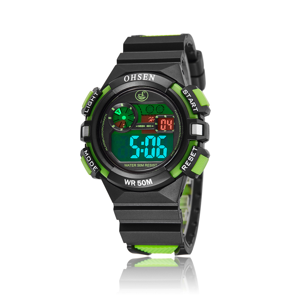 2016 OHSEN Brand Fashion and Casual Digital Kids Boys Sport Wristwatches Silicone LCD Watch 30M Waterproof Alarm Date Gift(China (Mainland))