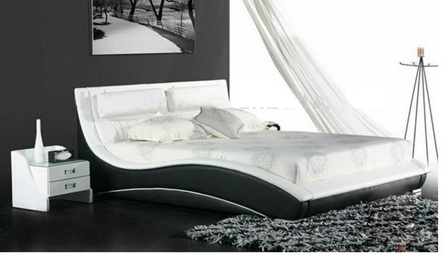 White And Black Genuine Leather Sofa Bed Comfortable