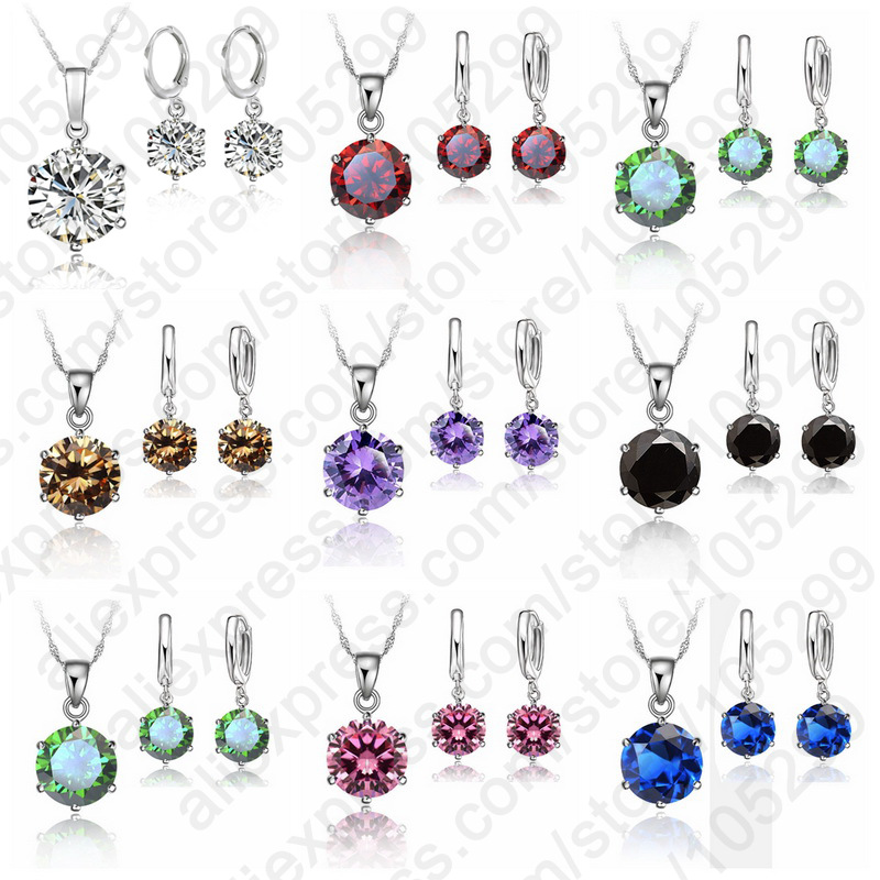 2015 Woman Gift Jewelry Sets 8mm Stone CZ Cubic Zircon Crystal 925 Sterling Silver Lever Back Earring Pendant Necklace(China (Mainland))