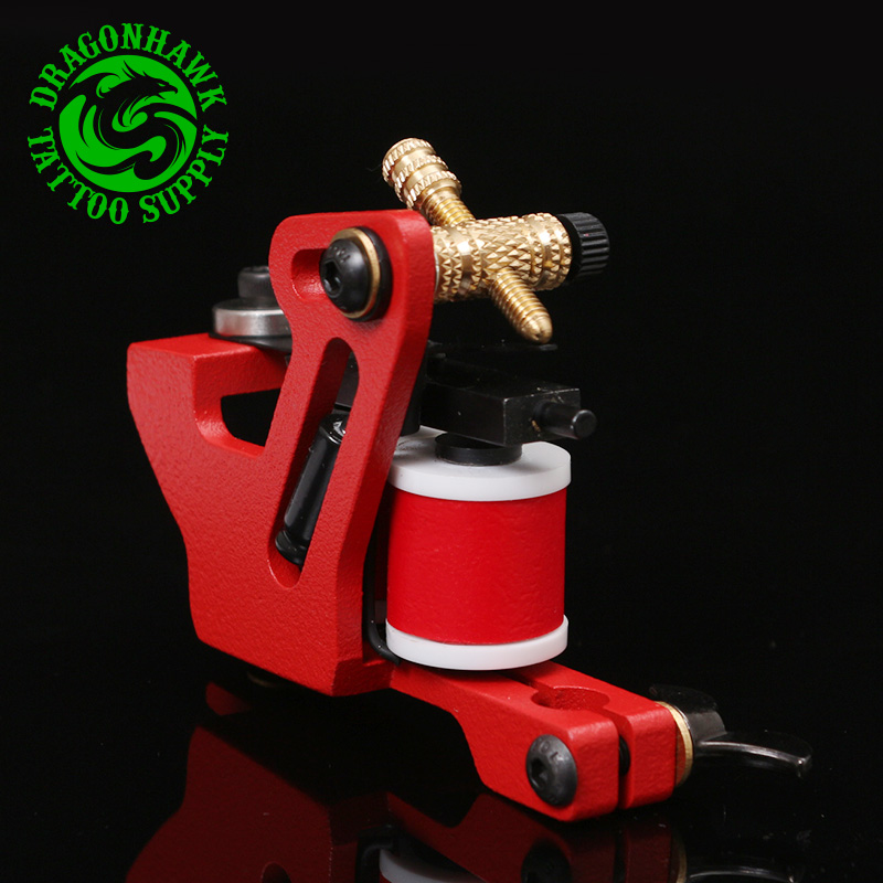 1pc New Design Handmade Tattoo Machine Red Color 10 Wrap Coil Tattoo Gun Supplies For Liner And Shader(China (Mainland))