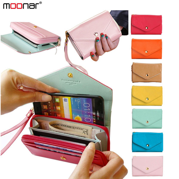 Candy Color PU Leather Phone Cover Fashion Multifunctional Envelope Wallet Purse Clutch Bag Smartphone Case for Women B704#S5(China (Mainland))