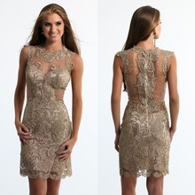 Dark Gold Cocktail Dresses 2016 Sheer Neck Lace Sexy Mini Short Plus Size Custom Made Party Dresses