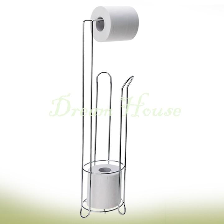 Organizador De Baño De Acero Inoxidable:Free Standing Toilet Paper Roll Holder